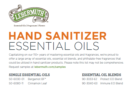 Essential oils and fragrances that work perfect for hand sanitizer
